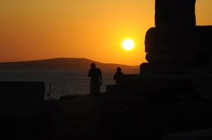 Sunset, and maybe that's Paros in the distance.